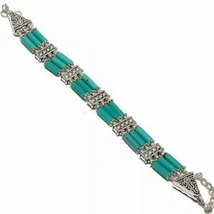 Ethnic style green onyx sterling silver bracelet